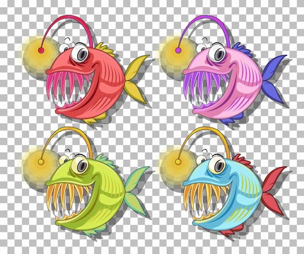 투명 한 배경에 고립 된 낚시꾼 물고기 만화 캐릭터