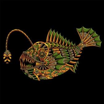 Angler fish mandala zentangle illustration and tshirt design premium