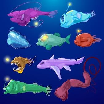 배경에 바다에서 이국적인 깊은 물고기의 열 대 야생 동물 그림 세트 치아와 빛 또는 만화 바다 낚시 해저와 낚시꾼 물고기 바다 육식 동물 캐릭터