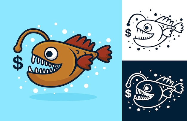Angler fish with dollar currency symbol.   cartoon illustration in flat icon style