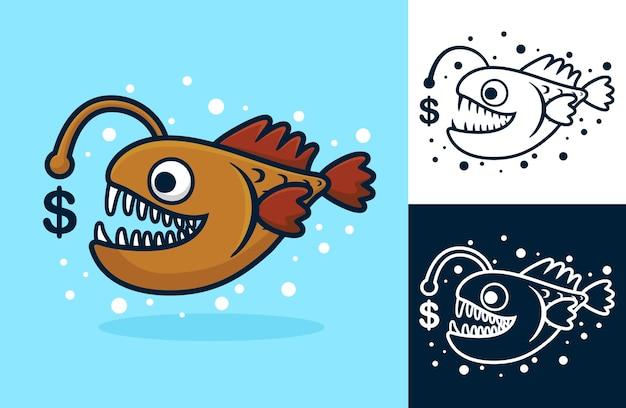Рыболов с символом валюты доллар. карикатура иллюстрации в стиле плоской иконки
