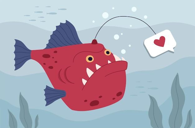 Рыболовная рыба с наживкой в форме сердца Premium векторы