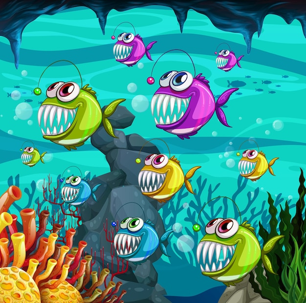 Angler fishes cartoon character in the underwater scene with corals illustration