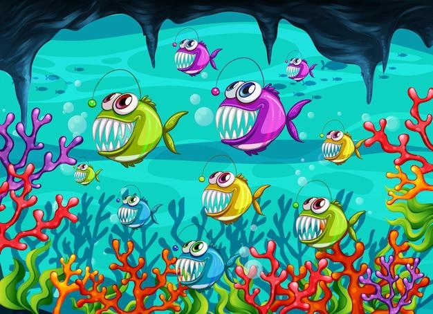 Personaggio dei cartoni animati di rana pescatrice nella scena subacquea con i coralli