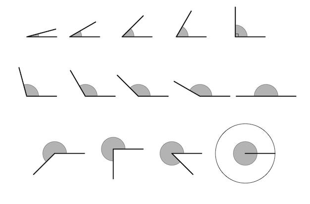 Angoli vari. set di icone vettoriali composto da angoli di diversi gradi.
