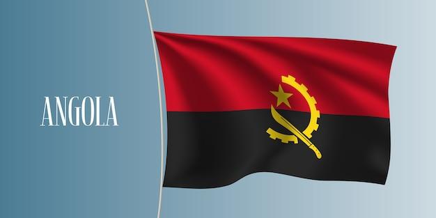 アンゴラ手を振る旗のベクトル図