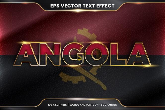 Angola con la sua bandiera nazionale, effetto testo modificabile con stile color oro