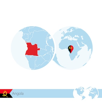 Angola on world globe with flag and regional map of angola. vector illustration.