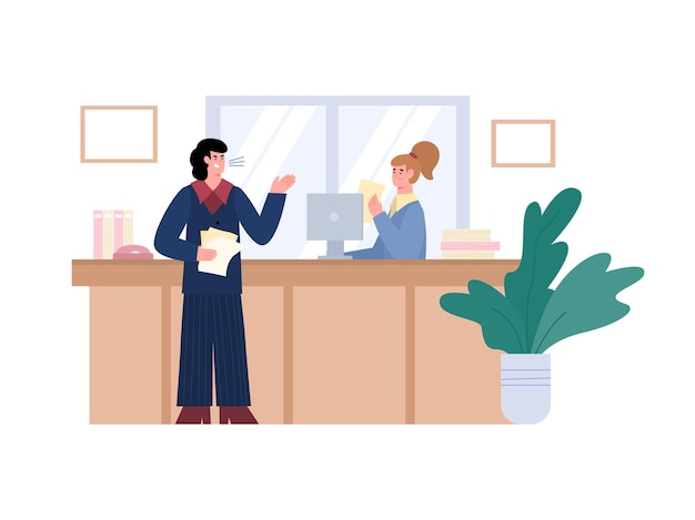 Angry aggressive boss shouting on employee flat vector illustration isolated