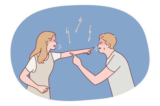 Сердитая агрессивная пара мужчина парень женщина подруга кричать и ссориться вместе