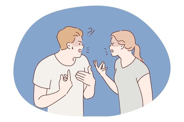Сердитая агрессивная пара мужчина парень женщина подруга вместе кричать и кричать