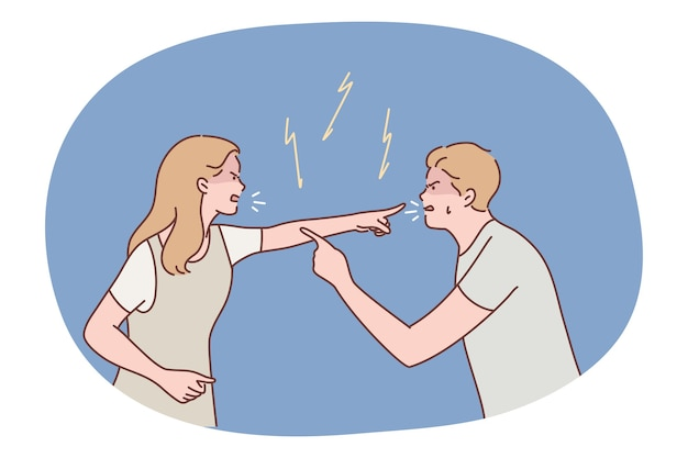 Angry aggressive couple man boyfriend woman girlfriend yelling and quarrelling together