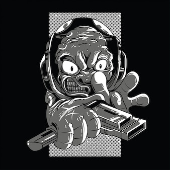 Angry alien black and white illustration