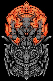 Сердитый и горящий бык король иллюстрация