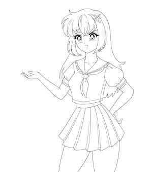 制服を着た怒っているアニメマンガの女の子