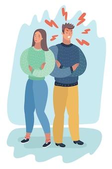腹が立つ怒りの男性と優しさの女性が背中合わせになり、ビジネスコンセプトが対立し、怒り、論争し、破綻し、または離婚する。