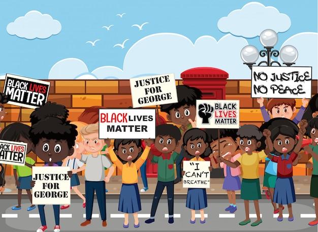 通りで怒っている反人種差別抗議者