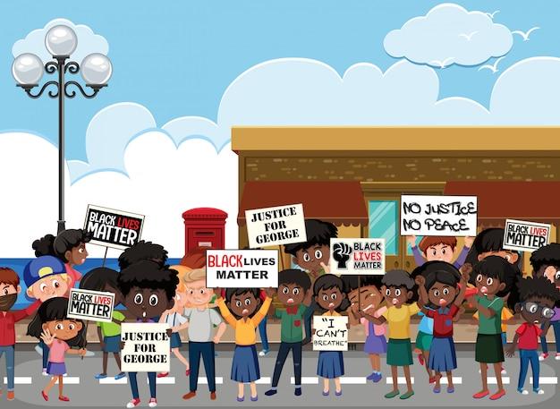 거리에서 화난 반 인종 차별 시위대