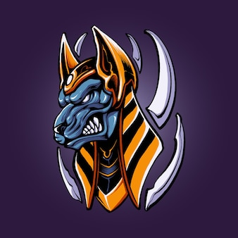 The angry anubis illustration vector