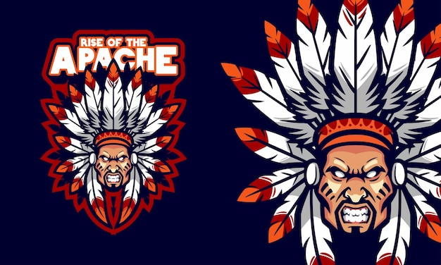 Злой апач главный голова спортивный логотип талисман иллюстрация