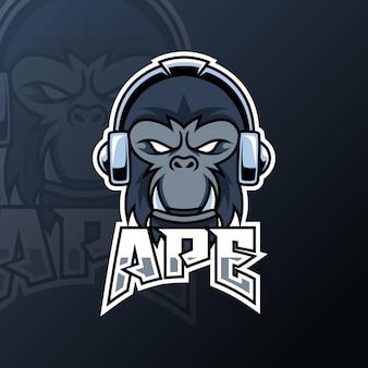 Angry ape gorilla mascot gaming logo black color headphone