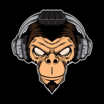 Angry ape with headphones. gaming concept