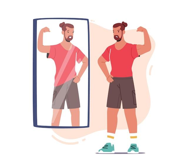 Злой спортсмен, демонстрирующий мускулы в зеркало, видит слабое тощее отражение своего тела