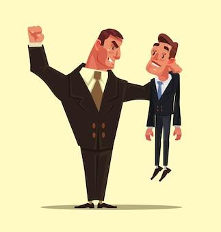 Злой плохой сильный офисный работник бизнесмен персонаж бьет слабого