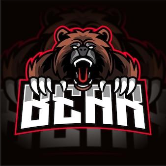 怒っているクマのeスポーツゲームのロゴ