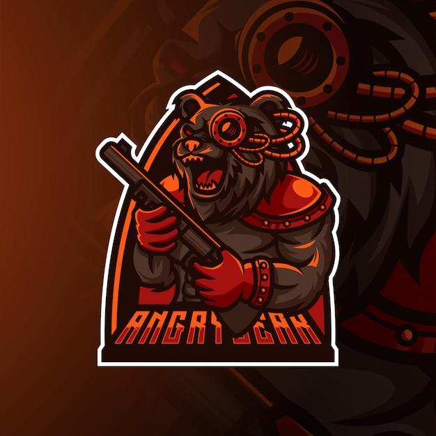 怒っているクマのeスポーツのロゴとマスコットデザイン