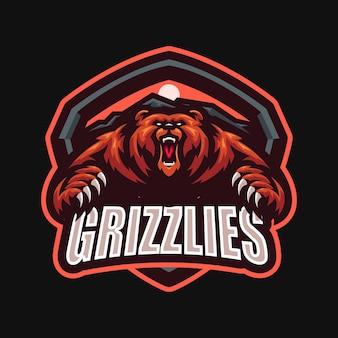 Angry bear esport mascot cartoon logo vector template