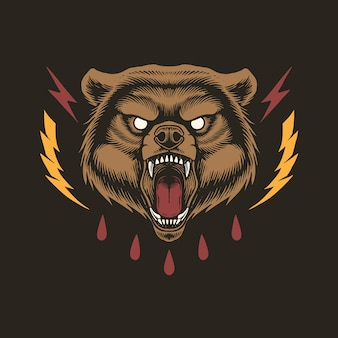 Angry bear head concept design