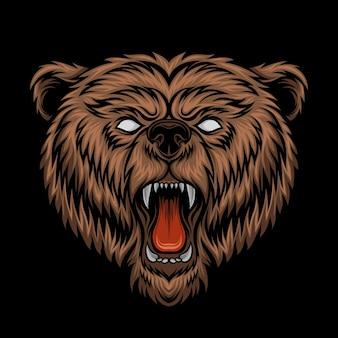 怒っているクマの頭のイラスト