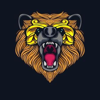Angry bear head illustration