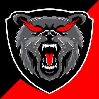 怒っているクマの頭のマスコットのeスポーツのロゴデザイン