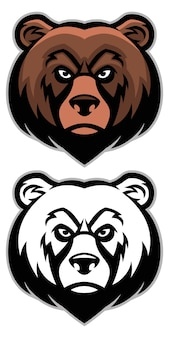 Angry bear head mascot set