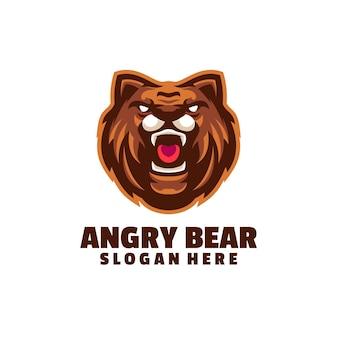 白で隔離される怒っているクマのロゴ