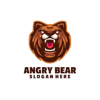 Angry bear logo isolated on white