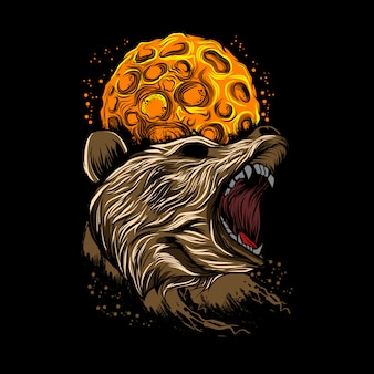 Angry bear moon background vector illustration