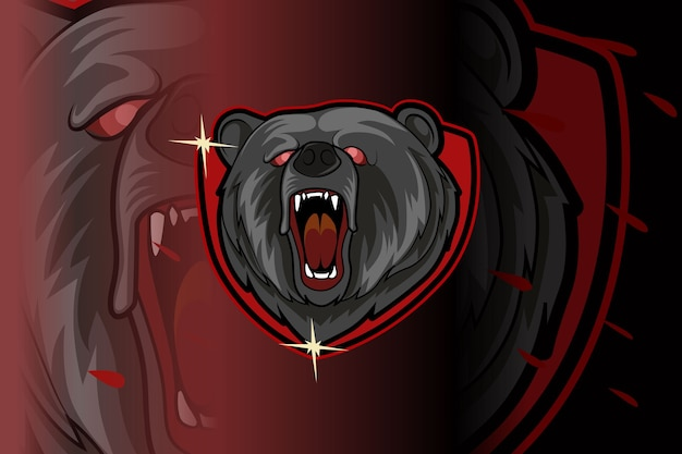 Angry bear roar e-sports team logo template