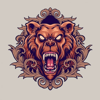 Angry bear with ornament