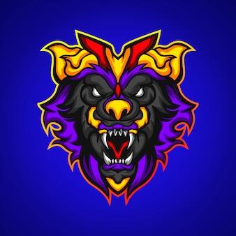 怒っている獣の頭のゲームマスコットロゴ