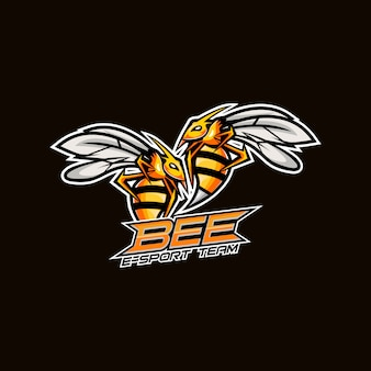 화난 꿀벌 esport 마스코트 로고 디자인