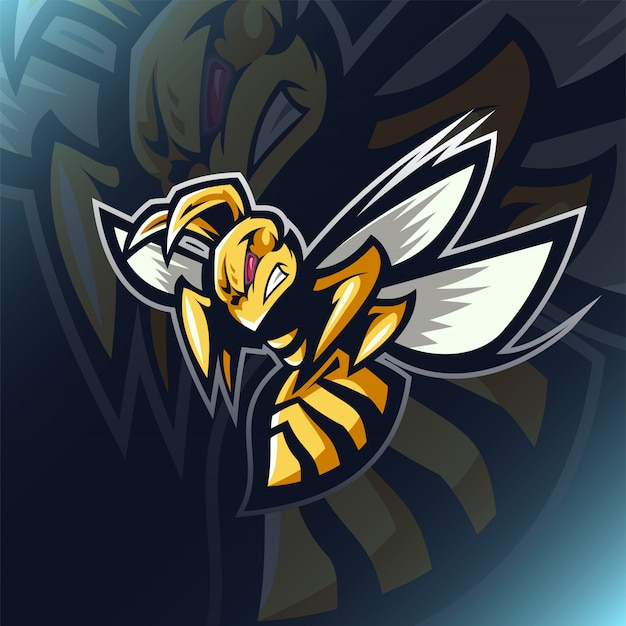 Angry bee esport mascot logo design