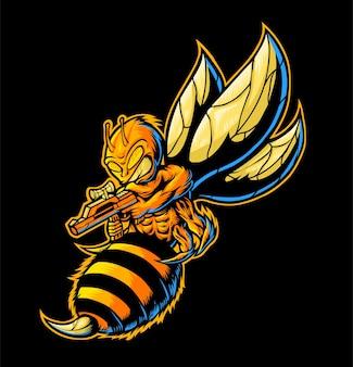 저격수 꿀벌 그림을 사용하는 화난 꿀벌