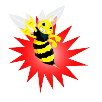 Angry bee vectoral illustration. cartoon