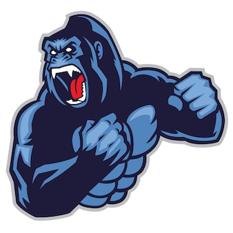 Сердитый большой горилл Premium векторы