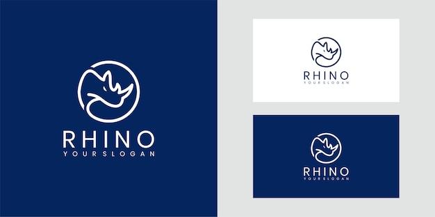 Angry big rhino logo. Premium Vector