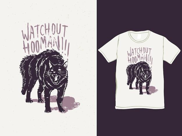 Angry black cat vintage tshirt design