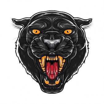 Angry black panther face